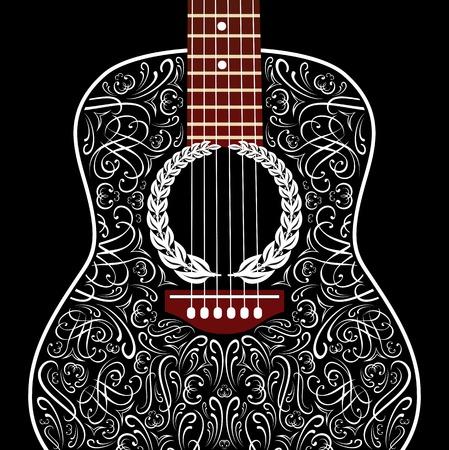 Grungy achtergrond met zwarte akoestische gitaar Stockfoto - 29976902