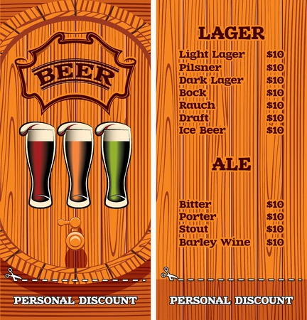 template for the cover of the beer menu Vector