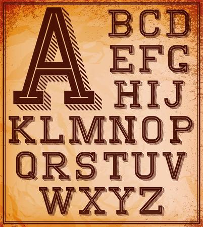 retro font: set di caratteri retr� stilizzata sullo sfondo