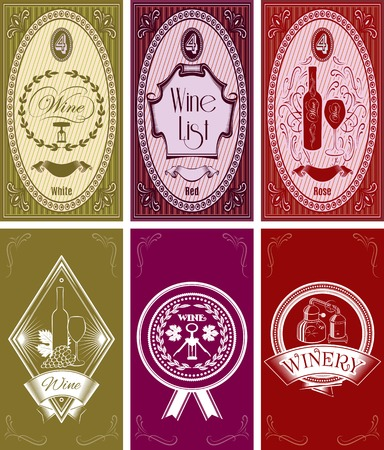 vector set of templates for business cards, menus for wine Vector