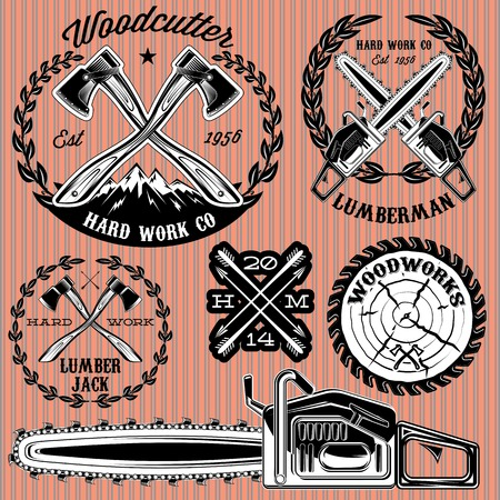 woodsman: set of vector labels on lumberjack, working with wood Illustration