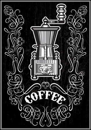 vector coffee grinder with ornament and inscription Vector