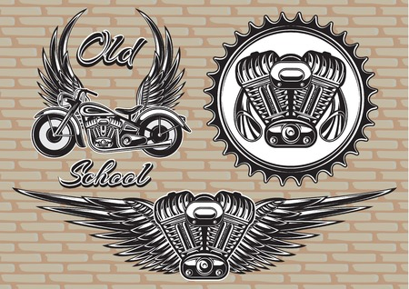 tailpipe: vector set of retro emblems on the motorcycle theme