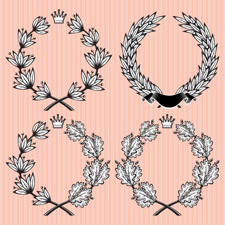 set of vector wreath of laurel and oak leaves Vector