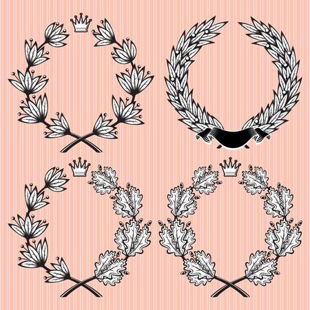 oak wreath: set of vector wreath of laurel and oak leaves