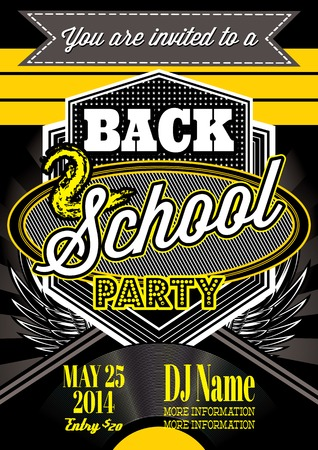 template  for a retro party, back to school Vector