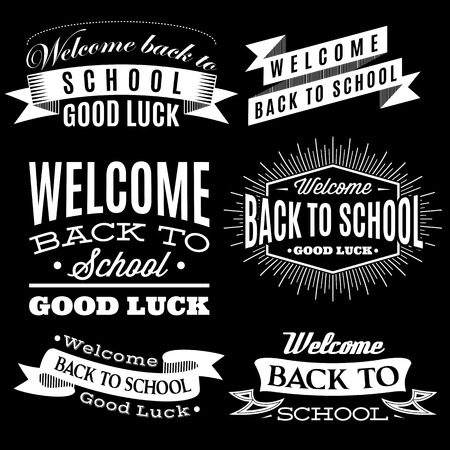 education icon: Black and white set of labels on back to school Illustration