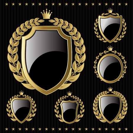 set of vector golden emblem with shield and wreaths Vector