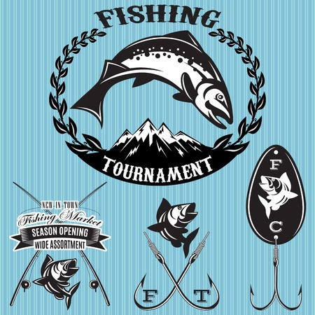 sea bass: set of vector emblems on the topic fishing Illustration