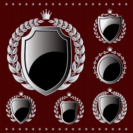 shield: set of vector silver emblem with shield and wreaths