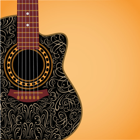 gradient background with clipped guitar and stylish ornament Ilustração