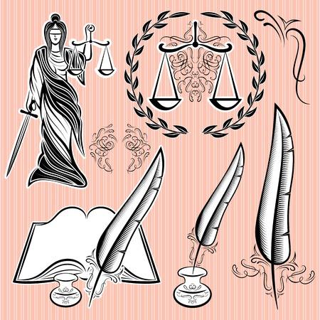 dama de la justicia: conjunto de elementos de diseño de plantillas para la ley