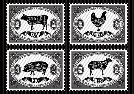 carnicero: conjunto de sellos de correos con los animales domésticos Vectores