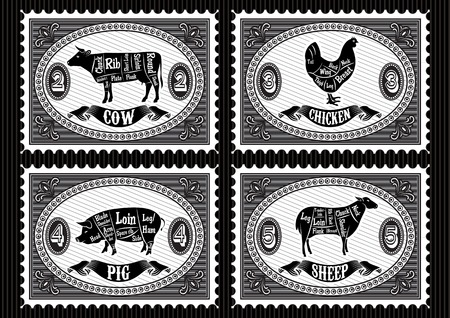 set of postage stamps with pets Çizim