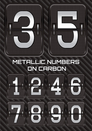 thread count: set of vector metallic numbers on carbon background Illustration