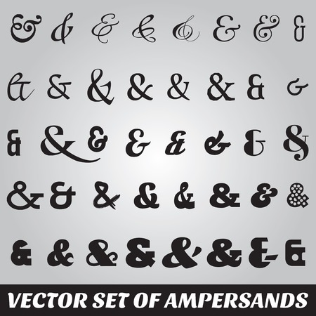 ampersand: vector set of ampersands from different fonts