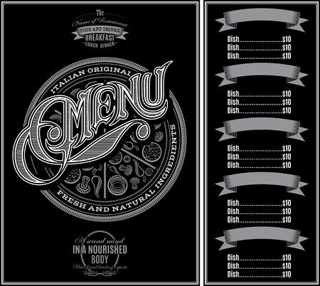 speisekarte: Muster f�r Men� Pizza �ber schwarzem Hintergrund und Kalligraphie