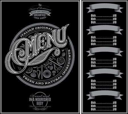 pattern for menu pizza over black background and calligraphy Illustration
