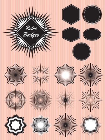 star burst: set of rays of the sun for the production of badges, emblems