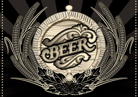 beer barrel: emblem beer barrel and barley for the menu Illustration