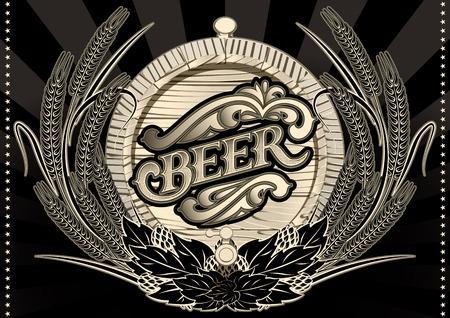brewery  hops: emblem beer barrel and barley for the menu Illustration
