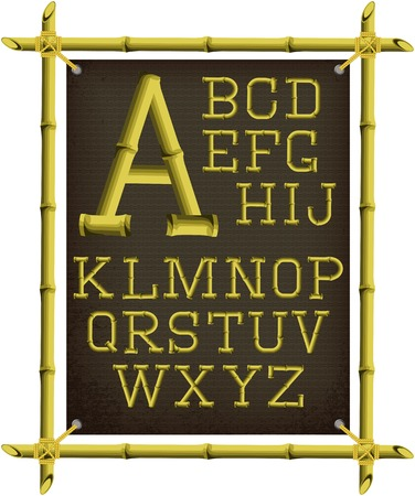 bamboo border: bamboo frame with canvas and stylized alphabet Illustration