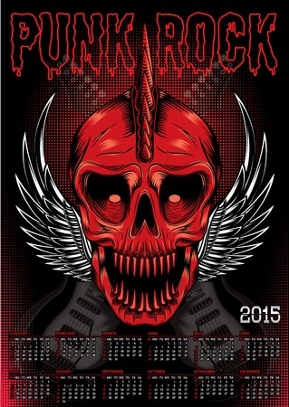 poster with a red skull and calendar for punk rock Vector