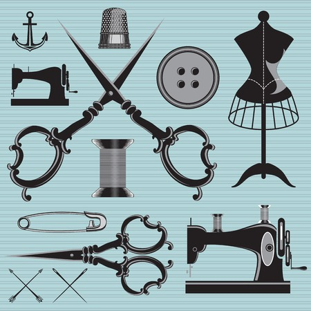 tailor shop: vector set of items and equipment to topics tailor, clothing, repair Illustration