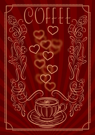 coffee cup vector: vector cup for coffee with ornament and inscription