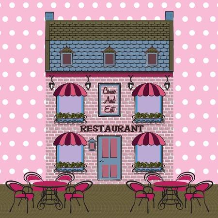 Restaurant facade. Background. Retro style vector illustration Vector