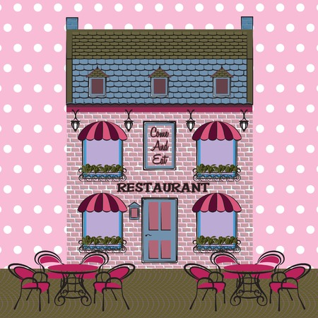 outdoor dining: Restaurant facade. Background. Retro style vector illustration