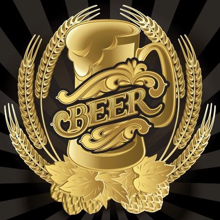 glass of beer on black background for the menu Vector