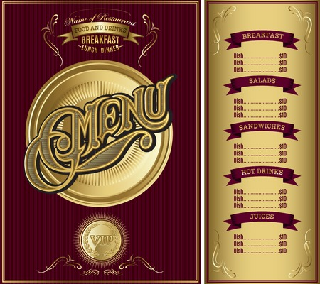 menu design: gold vector template for the cover of the menu