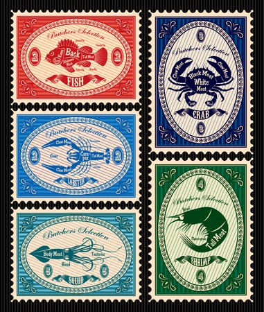 set of vector postage stamps with seafood Çizim
