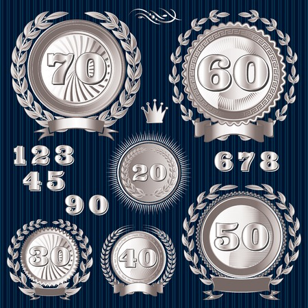 silver wedding anniversary: set vector retro signs for the anniversary
