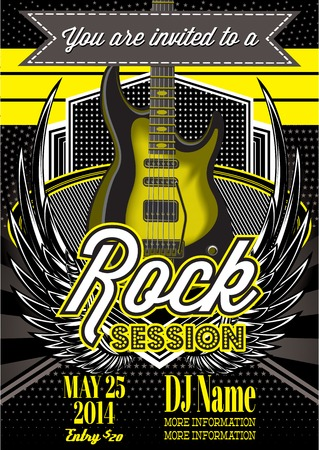 concert band: template for a rock concert with guitar