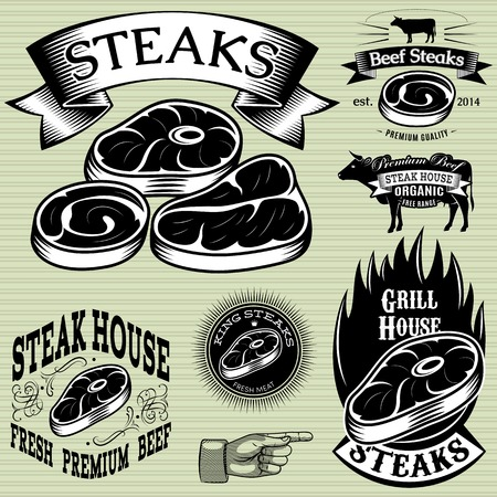 set vector sjabloon voor het grillen, barbecue, steak house, menu