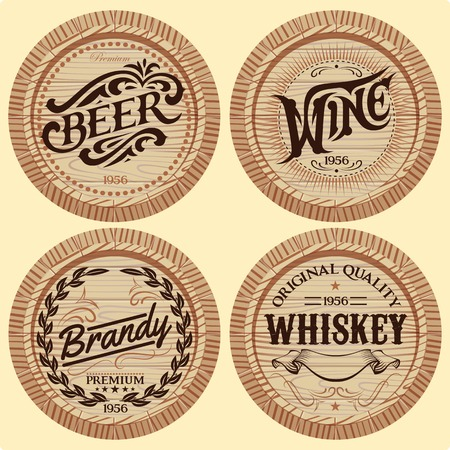 set of template wooden barrels for alcoholic beverages Vector