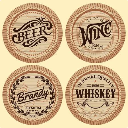distillery: set of template wooden barrels for alcoholic beverages Illustration
