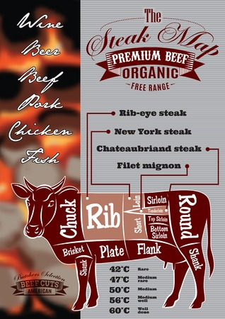 menu template with a cow and steak card for restaurant menu
