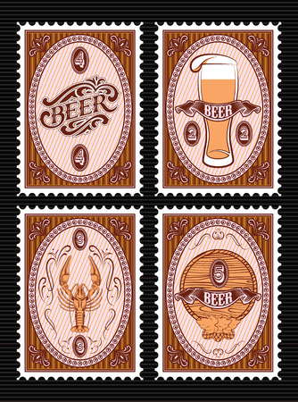 beer barrel: vector set of vector postage stamps with glass of beer, keg, lobster