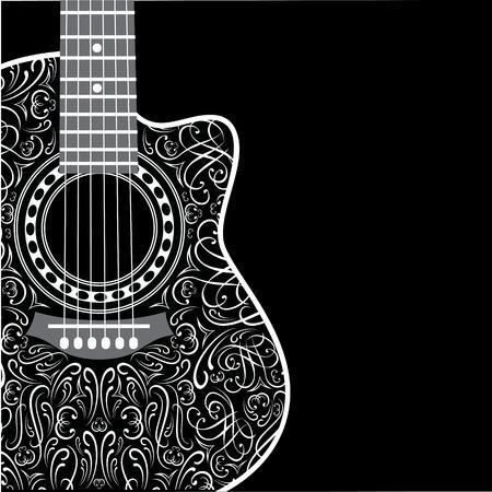 Fond dégradé avec la guitare et de l'ornement élégant coupé Banque d'images - 33681593