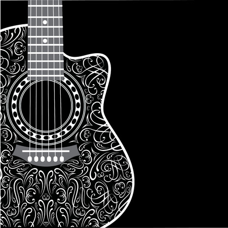 folk art: gradient background with clipped guitar and stylish ornament Illustration