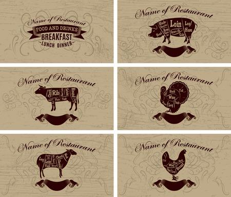 negocios comida: conjunto de tarjetas de visita para los men�s de restaurantes y publicidad