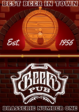 cask: vector illustration with bar counter and cask of beer Illustration