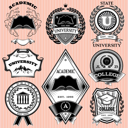 set of vector templates for emblem in education