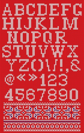 white letters: Christmas knitted font in Scandinavian style on red background