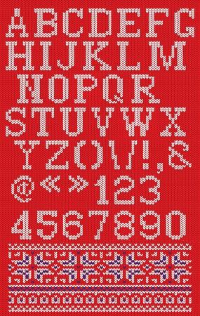 lettres alphabet: No�l police tricot�e dans un style scandinave sur fond rouge