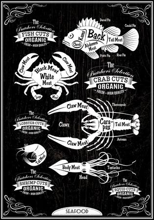 set of diagram cut carcasses seafood Illustration