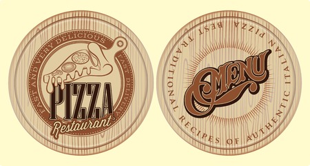vector set of boards for pizza with inscriptions and symbols for menu Vector